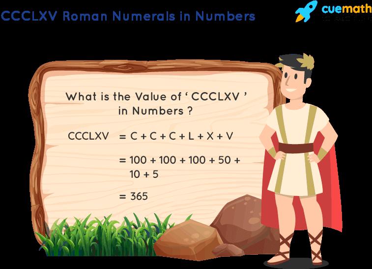 CCCLXV Roman Numerals