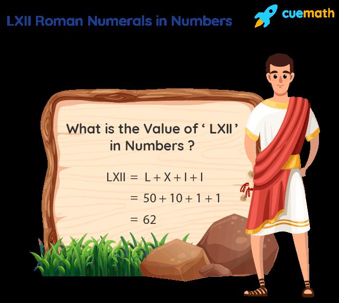 LXII Roman Numerals